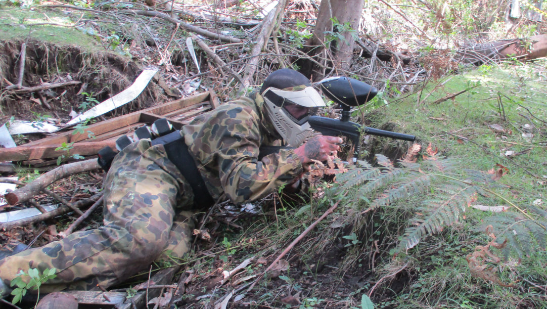 Prone Paintball Player